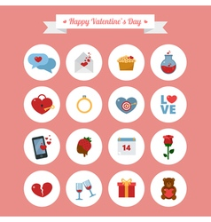 Happy valentines day icons set vector