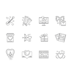Set of love events line icons vector