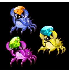 Three colorful crab with precious stones vector