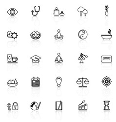 Meditation line icons with reflect on white vector