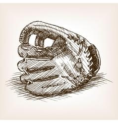 Baseball glove hand drawn sketch style vector image