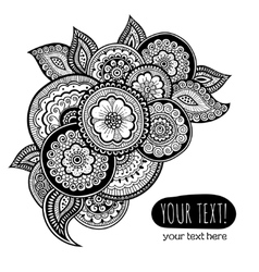 Greeting card with zen-tangle ornament vector