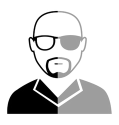 Avatar black and grey man  graphic vector