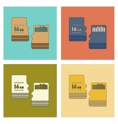 Assembly flat icon micro sd vector