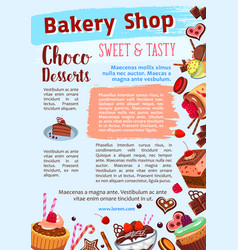 bakery shop poster of dessert cakes vector image vector image