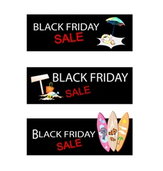 Beach Items on Three Black Friday Sale Banners vector image