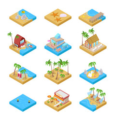 Beach vacation collection with bungalow isometric vector