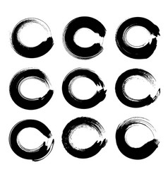 black circle textured ink strokes set isolated on vector image