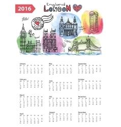 Calendar 2016London Landmarks skylinewatercolor vector image