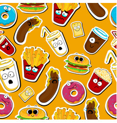Cartoon fast food cute character seamless faces vector