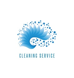 Cleaning service logo gradient sea wave water blue vector image