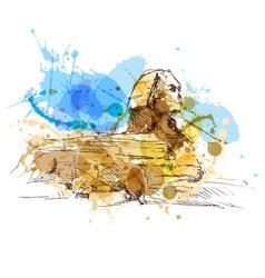 Colored hand sketch sphinx vector