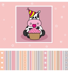 Cow with a cupcake vector