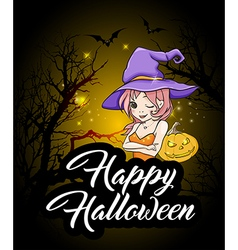 Cute young witch and pumpkin vector image