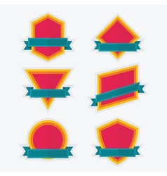 Empty colorful geometrical emblem and banners set vector image vector image