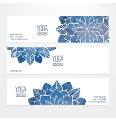 Flyers templates with watercolor flowers vector image