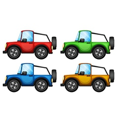Four colorful jeepneys vector