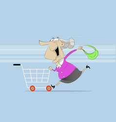 fun old woman rides on shopping cart vector image