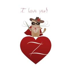 Funny cat Zorro Valentine vector image vector image