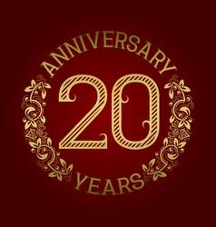 Golden emblem of twentieth anniversary vector