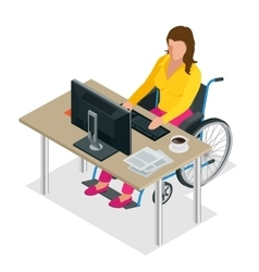 Handicapped woman in wheelchair in a office vector