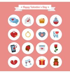 Happy Valentines Day Icons Set vector image