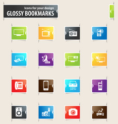 Home appliances bookmark icons vector