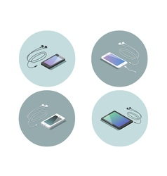 Isometric set of electronic devices smartphone vector