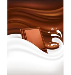 milk splash on dark chocolate background vector image
