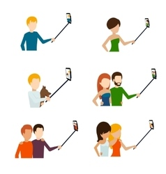 Monopod selfie flat icons vector image vector image