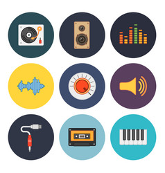 Nine universal flat music icons vector