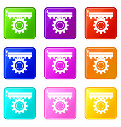One gear icons 9 set vector