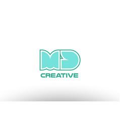 Pastel green alphabet letter md m d combination vector