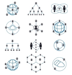 People connection and network icons vector