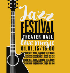 poster for jazz festival with a guitar vector image vector image