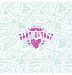 Seamless pattern and label for barber shop vector image