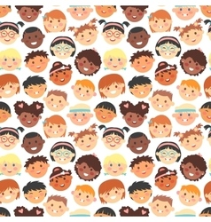 Seamless pattern of kids faces different vector