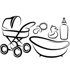 Set of baby items vector