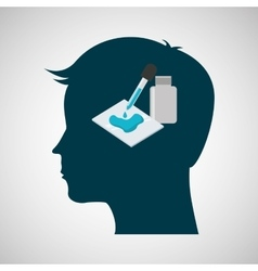 Silhouette head chemical laboratory test dropper vector