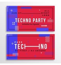 Techno night party club invitation card or flyer vector