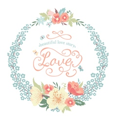 Wedding round floral frame with flowers vector