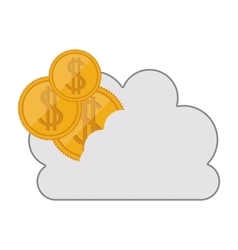 Cloud with money coins icon vector