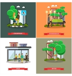 Set of street traffic concept posters vector