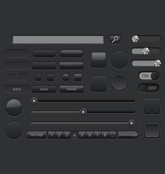 Set of black buttons collection of user interface vector