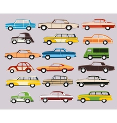 Set of old car vector image