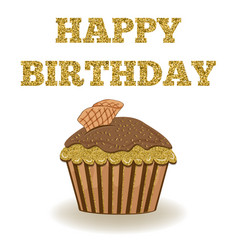 Beautiful birthday card template with golden vector