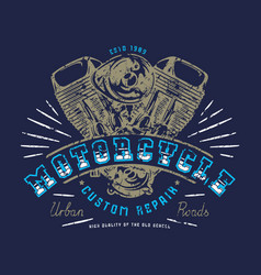 motorbike club emblem for t-shirt vector image
