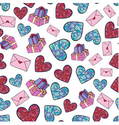 cute romantic pattern with gifts hearts and vector image