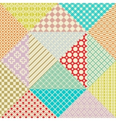 Retro patchwork 16 seamless patterns vector