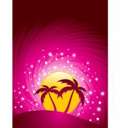 Tropical paradise sunset vector